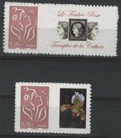 """N° 3969A + 3969Aa COTE 33 € Marianne De Lamouche Avec Vignette """"Orchidée"""" Et """"Le Timbre Poste"""" Neuf ** (MNH) Qualité TB - Personalized Stamps"""