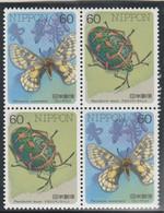 Japon 2 Paires En Bloc De 4  Yvert 1589 Et 1590 ** Neuf Sans Charnière - Insectes Papillons - Nuovi