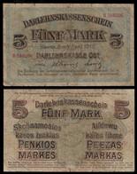 GERMANY - WWI Occupation Of Lithuania - DARLEHNSKASSENSCHEIN BANKNOTE - 5 MARK 1918  P#R130 VG/F (NT#03) - Norway