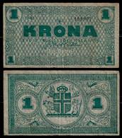 RIKISSJOD ISLANDS - ICELAND BANKNOTE - 1 KRONA 1941 P#22a F (NT#03) - Iceland
