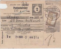 Ungarn - 2 F. Postanweisung Ganzsache+Zusatz Budapest - Nemethad (?) 1921 - Enteros Postales