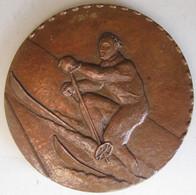 Médaille En Bronze Le Skieur – Ski, Par Louis Muller . 81 Mm - Sports D'hiver