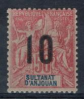 Anjouan (Comores), Type Groupe, Surchargé 10/50c, 1912, *, TB Joli Timbre Très Frais - Unused Stamps