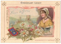 CHROMO PUBLICITAIRE CHOCOLAT LOUIT FLEURS DE FRANCE MARGUERITE BERRY CHÂTEAU  FLEUR FOLKLORE COIFFE DENTELLE FEMME - Louit