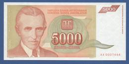 YUGOSLAVIA - P.128 – 5.000 Dinara 1993 - UNC  Prefix AA - Jugoslavia