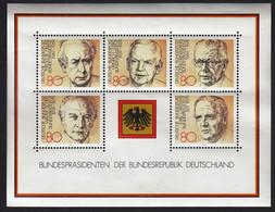 Germany 1982 / Presidents Of The Federal Republic, Bundesprasidenten / MNH, Mi Bl 18 - Nuevos