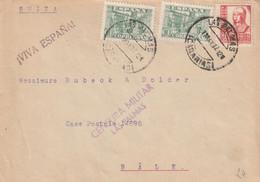 1937-CARTA-Edifil: 805, 823. JUNTA DEFENSA, ISABEL CATOLICA. LAS PALMAS A SUIZA. Censuras. - 1931-50 Lettres