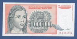 YUGOSLAVIA - P.123 – 50.000.000 Dinara 1993 - UNC  Prefix AB  Nr. RADAR 1991991 - Jugoslavia