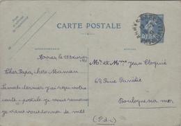 Semeuse Camée 40c Outremer Carte Postale ARRAS GARE 1931 PAS DE CALAIS Pour Boulogne Sur Mer - Standaardpostkaarten En TSC (Voor 1995)