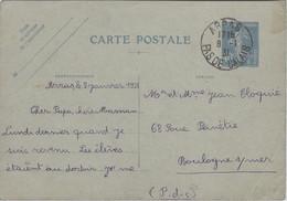 Semeuse Camée 40c Outremer Carte Postale ARRAS 1931 PAS DE CALAIS Pour Boulogne Sur Mer - Standaardpostkaarten En TSC (Voor 1995)