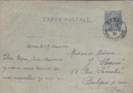 Semeuse Camée 40c Outremer Carte Postale ARRAS 1930 PAS DE CALAIS Pour Boulogne Sur Mer - Standaardpostkaarten En TSC (Voor 1995)