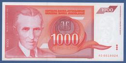YUGOSLAVIA - P.114 – 1.000 Dinara 1992 - UNC  Prefix AD - Jugoslavia