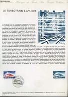 DOCUMENT PHILATELIQUE OFFICIEL N°20-74 - LE TURBOTRAIN T.G.V. 001 (N°1802 YVERT ET TELLIER) - UALY C. - 1974 - Lettres & Documents