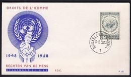 Belgium 1958 / 10th Anniversary Of UN's Declaration Of Human Rights / FDC - Cartas
