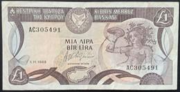 RS0319 - Cyprus 1 Pound Banknote 1989 P.53a.3 Serial # Prefix AC - Cyprus