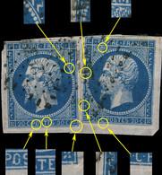 FRANCE - Yv.14 20c Bleu T.I X2 Exemplaires Positions 59G2-60G2 - Obl. TB Sur Fragment - 1853-1860 Napoléon III