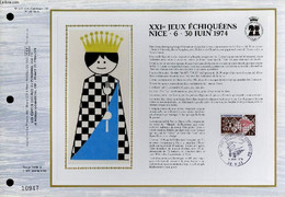 FEUILLET ARTISTIQUE PHILATELIQUE SUR SOIE - CEF - 21° JEUX ECHIQUEENS NICE . 6 . 30 JUIN 1974 - N° 277S - N°95 SOIE - CO - Lettres & Documents