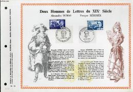 FEUILLET ARTISTIQUE PHILATELIQUE - PAC - 70 - 12 - DEUX HOMMES DE LETTRES DU 19° SIECLE : ALEXANDRE DUMAS, PROSPER MERIM - Lettres & Documents