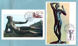 Carte Maximum 1974 - Europa 1974 - Sculptures 1974 - YT 1789 Et 1790 - Oblitération Conseil De L'Europe 67 Strasbourg - 1970-79