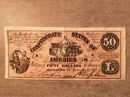 Billet De 50 Dollars Des états Confédérés D' Amérique. 2 Septembre 1861 - Confederate Currency (1861-1864)