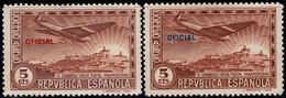 1931.MH.Ed:*630hcc.Panamericana Terrestre.Cambio De Color En La Habilitación.5 Cts Castaño.Se Añade Sello Tipo - 1931-50 Ungebraucht