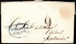 1830.Carta Prefilatélica.Coruña-Santander.Marca PE:10 En Azul De Coruña - ...-1850 Vorphilatelie
