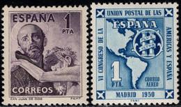 1950.MNH.Ed:**1070,1091.San Juan Dios Y UPU.1 Pta Violeta Oscuro Y 1 Pta Azul - 1931-50 Ungebraucht