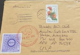 A) 2013, CZECH REPUBLIC, COVER SHIPPED TO UNITED STATES, SOUTH POLE ANTARCTICA, EUROPEAN FLORIST CHAMPIONSHIP STAMP - Brieven En Documenten