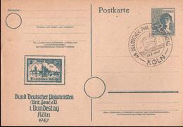 ! 1947  Postkarte , Ganzsache Köln, Sonderstempel 48. Deutscher Philatelistentag, BdPh - Amerikaanse, Britse-en Russische Zone