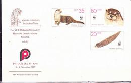 DDR GDR RDA - Umschlag Fischotter (MiNr: U7 1a-87 Alt: C1a) 1987 - Siehe Scan - Privatumschläge - Gebraucht