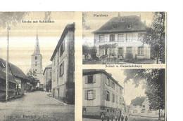 GRUSS  BERSTETT    3 VUES  PFARRHAUS  / SCHUL U GEMEINDEHAUS /  PERSONNAGES   Petit Pli Coin Haut DEPT 67 - Andere Gemeenten
