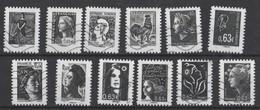 FRANCE 2013  LA Ve REPUBLIQUE AU FIL DU TIMBRE. LES 12 TIMBRES OBLITERES - Used Stamps