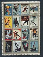 Planche Feuille De 16 Timbres Oblitérés AJMAN X-2 Jeux Olympiques 1968 Olympics Games 68 été Hiver (dont Grenoble) - Other