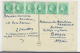 MAZELIN 2FR BANDE DE 6 CARTE BELLEGARDE 17.5.1949 CREUSE - 1945-47 Ceres De Mazelin