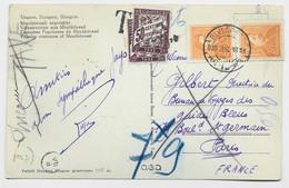 TAXE 50CX2 PARIS CARTE HONGRIE MAGYAR BUDAPEST 1938 - Postage Due Covers