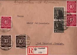 ! 1947 Einschreiben Mit Rückschein, Brief Aus Lippstadt, Gemeinschaftsausgaben - Zone AAS