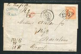 Belle Lettre De Dax Pour Barcelone ( Espagne 1869 ) Avec Un N° 31 - 1849-1876: Classic Period