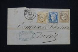 FRANCE - Lettre De Pont L 'Évêque Pour Paris En 1875, Affranchissement Cérès Tricolore 15c+25c+ 30c, GC 2950 - L 92706 - 1849-1876: Classic Period