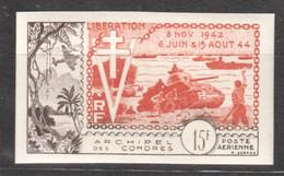 WW819 IMPERF 1954 COMOROS COMORES ARCHIPELAGO AIR MAIL HISTORY WWII WORLD WAR 2 LIBERATION 1942-1944 1ST MNH - Seconda Guerra Mondiale