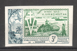WW827 IMPERF FRENCH OCEANIA 1954 AIR MAIL HISTORY WWII WORLD WAR 2 LIBERATION 1942-1944 1ST MNH - Seconda Guerra Mondiale