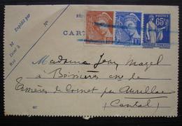 Entier Postal Carte Lettre Avec Complément Pour Boissière Teissières-de-Cornet, Cantal , Timbres Annulés Au Crayon Bleu, - Cartes-lettres