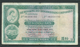 Billet Hong Kong 10 DOLLARS 1973  - HN354150  - Laura 6202 - Hong Kong