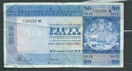 HONG KONG SHANGHAI Banking CORPORATION FIFTY , $50 Dollars Année 1969 - 726258 M  - Laura 6209 - Hong Kong
