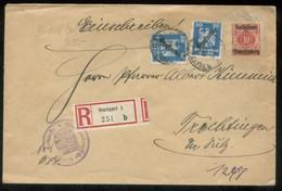 17380 DR Württemberg R - Dienst GS Umschlag + DR Marken Stuttgart - Oberndorf 1925 , Die Marken Haben Mängel. Bedarfse - Oficial