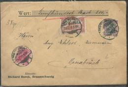 17519 DR Infla Wert Brief Germania MiF Braunschweig -  Osnabrück 1920 , Siegel, Bedarfserhaltung. - Covers & Documents