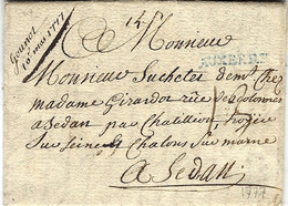 1777 - Lettre D' AUXERRE  ( Yonne ) Lenain L4 A  Bleu    Taxe 13 Pour  Sedan - 1701-1800: Precursors XVIII