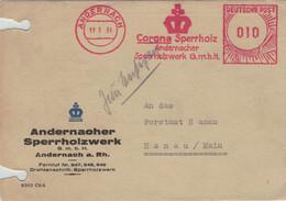 Andernach 11.1.1951 - AFS Corona Sperrholz-Werk - Illustriertes Kuvert - Krone - !! Aktenlochung !! - Covers & Documents