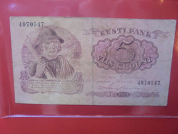 ESTONIE 5 KROONI 1929 Circuler (B.22) - Estonia