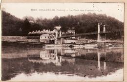 X69182 COLLONGES Rhone Le Pont Des Piétons-Passage Train Locomotive à Vapeur 14-08-1919 à AUGER Bourg-Valence - Otros Municipios
