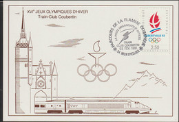 France Postcard 1992 Albertville Olympic Games - Train-Club Coubertin Torch Relay Montpellier (G127-8) - Inverno1992: Albertville